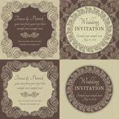Baroque wedding invitation set, brown and beige — 图库矢量图片