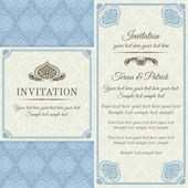 Baroque invitation, gold, blue and beige — Stock Vector