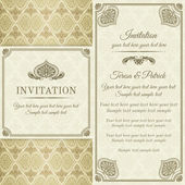 Baroque invitation, gold, brown and beige — Stock Vector