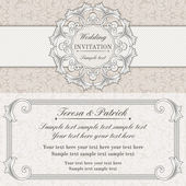 Baroque wedding invitation, grey and beige — Stock Vector