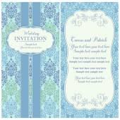 Baroque wedding invitation, blue and green — Vecteur