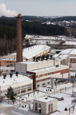 Factory view with a chimney in winder — Foto Stock