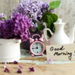 Two tone Lilac flowers with Good Morning note — Stock Photo #55373421