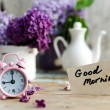 Two tone Lilac flowers with Good Morning note — Stock Photo #55377509