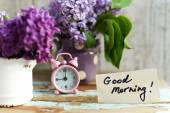 Two tone Lilac flowers with Good Morning note — Photo