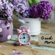 Two tone Lilac flowers with Good Morning note — Stock Photo #55381193