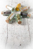 Idian spices in a glass jars isolated — Stock Photo