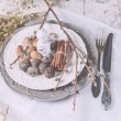 Christmas decoration table servise with almonds, cutlery and oth — Stock Photo #59382171