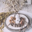 Christmas decoration table servise with almonds, cutlery and oth — Stock Photo #59382239