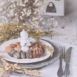Christmas decoration table servise with almonds, cutlery and oth — Stock Photo #59382873