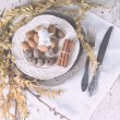 Christmas decoration table servise with almonds, cutlery and oth — Stock Photo #59384145