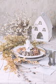 Christmas decoration table servise with almonds, cutlery and oth — Stock Photo