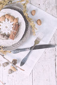 Christmas decoration table servise with almonds, cutlery and oth — Stock fotografie