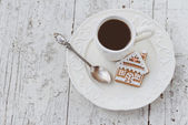Merry Christmas composition with coffee and gingerbread sweets a — Stock Photo