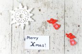 Christmas decor elements with angels and snowflakes and Merry Xm — Stock Photo