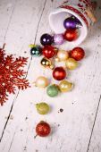 Porcelain bucket with colorful baubles for Christmas and New Yea — Foto de Stock