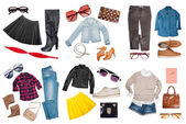 Outfits of clothes and woman accessories — Stock Photo