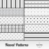 Naval cloth pattern set — Stock Vector
