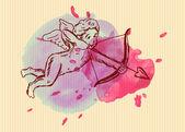 Cartolina di San Valentino con Cupido — Vettoriale Stock