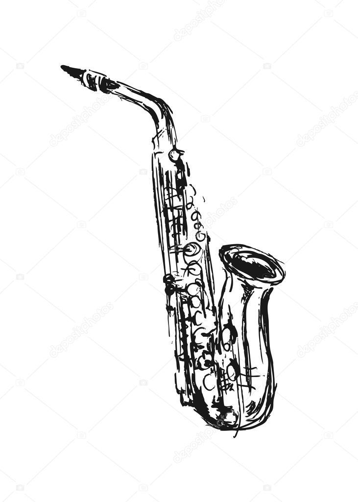 R ka szkic saksofon wektor stockowy 84896990 - Dessin saxophone ...