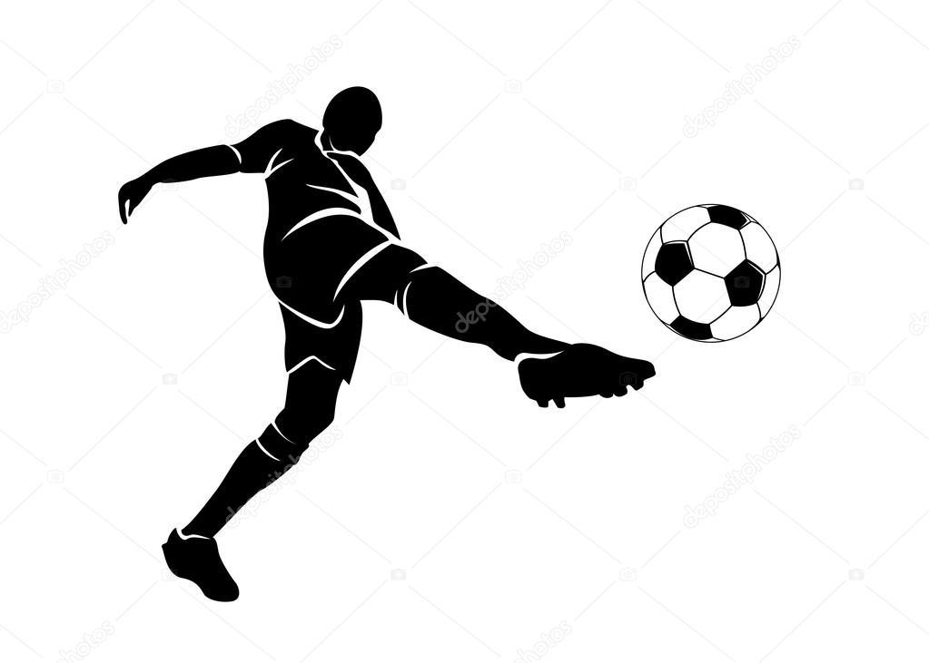 silueta de un futbolista con el bal u00f3n vector de stock football player vector free football player vector art