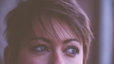 Close Up Of Young Womans Face — Vídeo Stock
