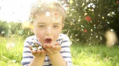 Little boy blows confetti — Stock Video