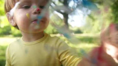 Little Boy Painting — Stock Video
