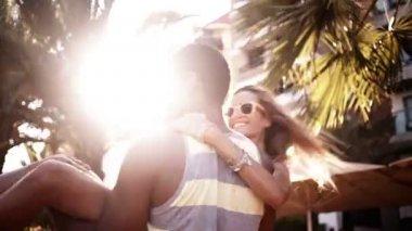 Guy Spinning Girl — Stock Video