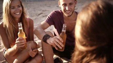 Friends Cheers Beers at Beach — Stock Video