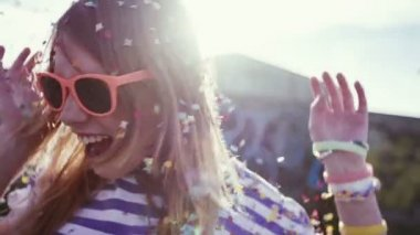 Teen Girl Dancing in Confetti — Vídeo de Stock
