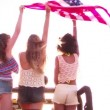 Girls happily flying an American flag — Stock Video #69857405
