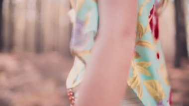 Boho girl in flower headband and sunglasses — Stock Video