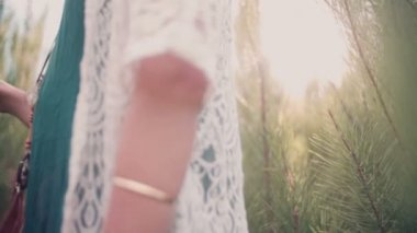 Boho girl in vintage dress in nature — Stock Video