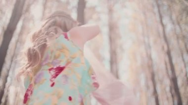 Boho girl in a summer forest — Stock Video