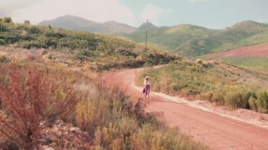 Boho girl walking along country road — Stock Video