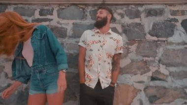 Hipster guy with hipster girl — Stock Video