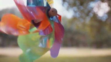 Pinwheel turning in park — Stock Video