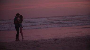 夕暮れ時のビーチの愛情のあるカップル — ストックビデオ