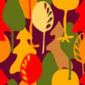 Vector autumn pattern with trees — Stock Vector