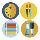 Modern flat icons vector collection in stylish colors of different elements on game design and development theme. — Stock Vector
