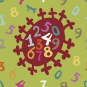 Numbers on the decorative bright background — Stok Vektör