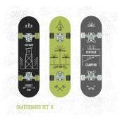 Set of retro vintage badges on a skateboard — Stock Vector