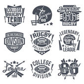College rugby team emblem — Stock Vector