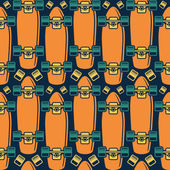 Seamless pattern with the image of longboard — ストックベクタ