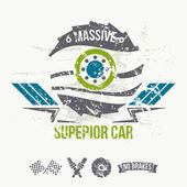 Emblem of the massive superior car in retro style — Stock Vector