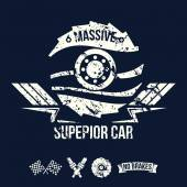 Emblem of the massive superior car in retro style — Vector de stock