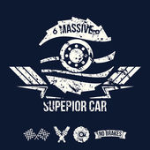 Emblem of the massive superior car in retro style — Stockvector