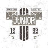 Emblem racing junior in retro style — 图库矢量图片