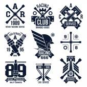 Car races and service badges  — Stockvector